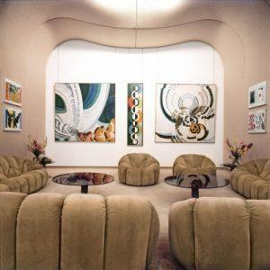 Le Salon aux tableaux, Palais de l'Elysée, fauteuils et canapés Pumpkin créés pour l'occasion. © Pierre Berdoy – Mobilier National – Les Archives Paulin