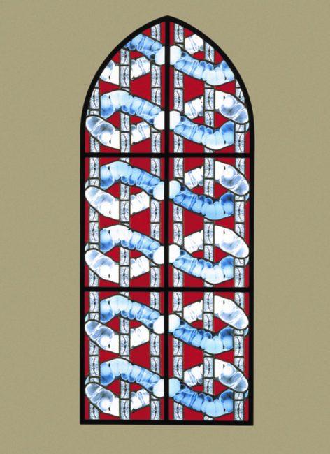 Wim Delvoye, vitrail Melpomene, 2001-2002, issu de la série Les 9 muses.