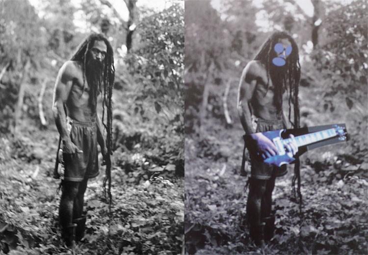 A gauche, la photo de Patrick Cariou issue de Yes Rasta. A droite, la reprise de Richard Prince nommée Graduation, 2008, présentée lors de l'exposition Canal Zone. Image issue du site artinfo.com
