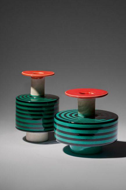 Ettore Sottsass, Paire de vases, modèle 183 (petit modèle) et modèle 182 (grand modèle) [1959].
