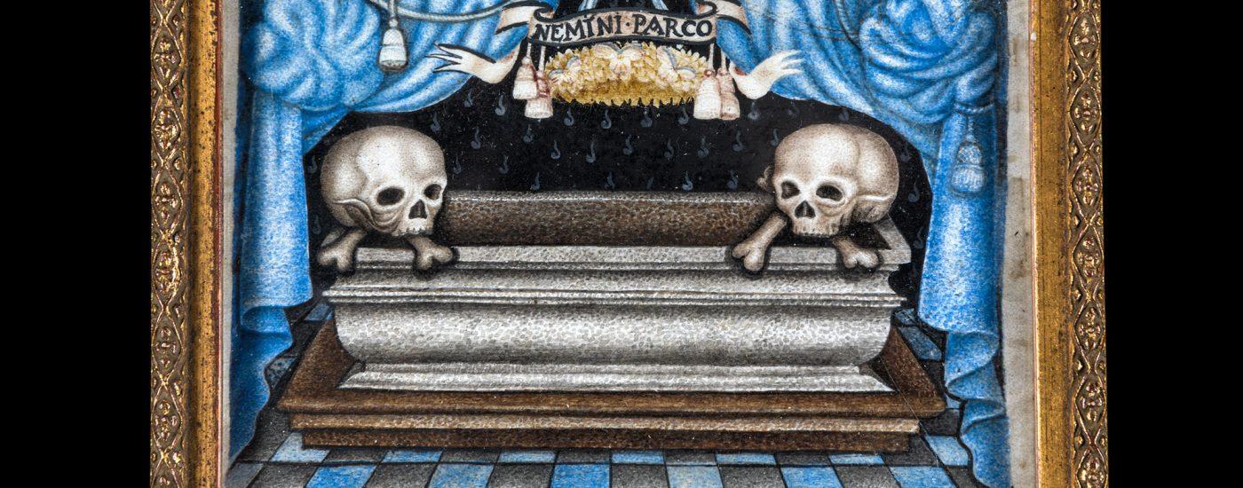 Page de stammbuch, Allemagne, fin XVIIe siècle Gouache sur papier ou sur parchemin ? Inscription : Nemini parco [elle n'épargne personne]. Legs baronne Henri de Rothschild, 1926. Musée des Arts décoratifs, Paris © Felipe Ribon
