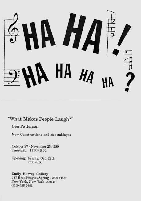Affiche de l'exposition What Makes People Laugh à la galerie Emily Harvey, 1989