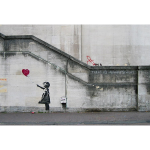 Graffiti Girl With A Balloon, dessin mural de l'artiste Bansky sur Waterloo Bridge, 2004, Londres