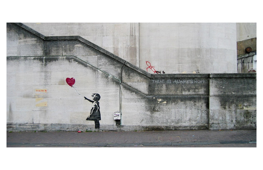 Graffiti Girl With A Balloon, dessin mural de l'artiste Bansky sur Waterloo Bridge, 2004, Londres