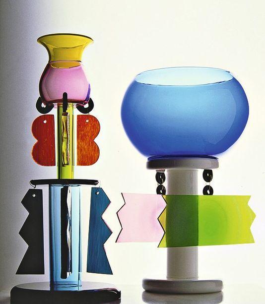 Vases en verre, Ettore Sottsass, 1982. Edition Memphis 1984