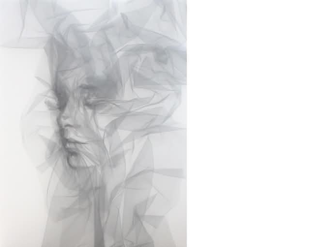 Benjamin Shine, Quietude, 3/9, Tulle sur canevas, 65x85cm, © Benjamin Shine 2018