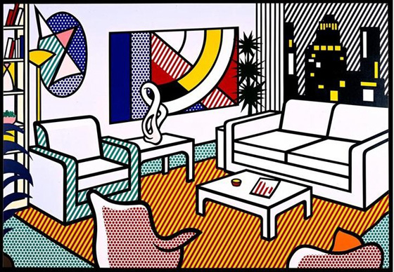 Roy Lichtenstein, série Interior, Study for Interior with Skyline, 1992.