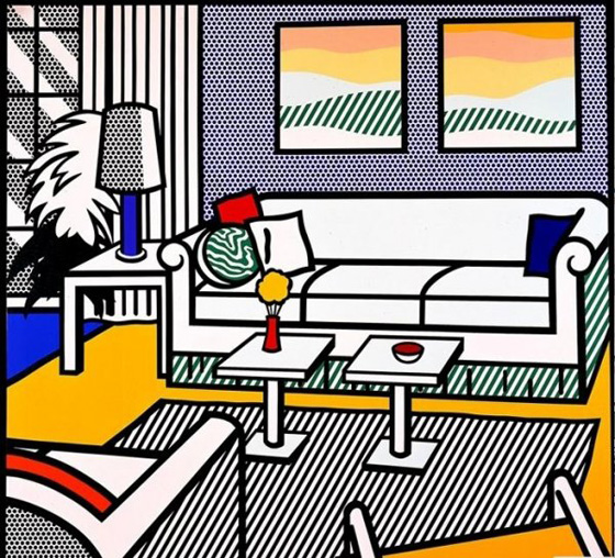 Roy Lichtenstein, série Interior, Interior with Restful Paintings, 1991.