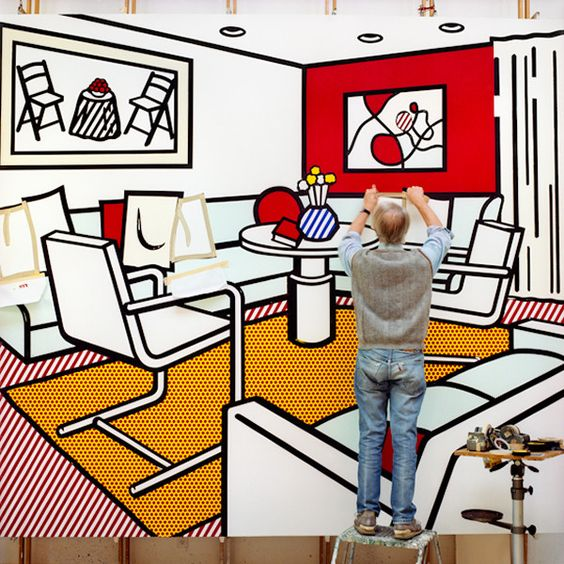 Roy Lichtenstein au travail dans son atelier.
