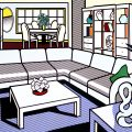 Roy Lichtenstein, série Intérieur, Interior with African Mask,1991