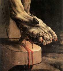 Retable d'Issenheim. Polyptyque fermé. La Crucifixion. Détail : les pieds du crucifié. Vers 1515. Huile sur bois. Colmar, Musée Unterlinden