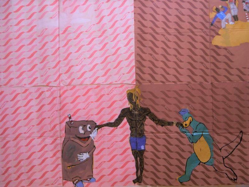 La Glorieuse Victoire. Toile de Maxwell Alexandre. Exposition Pardo é Papel. A gauche la mascotte Toddynho qui rend allégeance à l'homme des favelas. A droite une autre mascotte : Danonino (produit marque Danone).