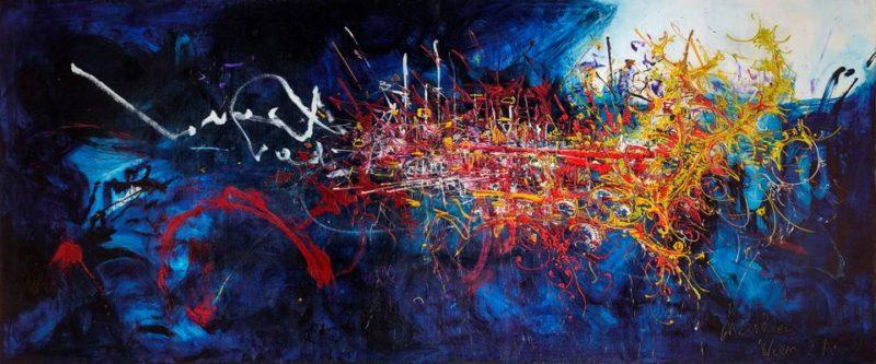 Georges Mathieu, Hommage au Connétable de Bourbon, 2 avril 1959, huile sur toile, 250 x 600 cm. © Applicat-Prazan, Paris