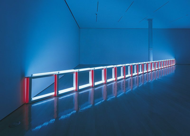 Dan Flavin, an artificial barrier of blue, red and blue fluorescent light (to Flavin Starbuck Judd), 1968.