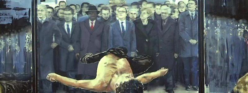"""Stéphane Pencréac'h, partie centrale du triptyque intitulé """"Paris -11 janvier 2015""""."""