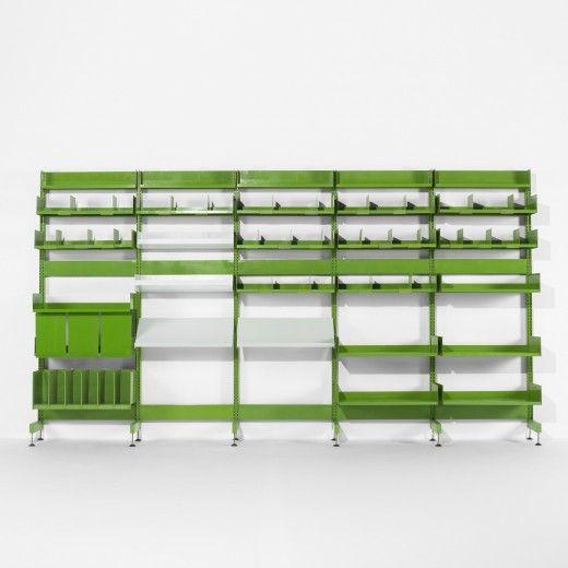 Système de rangement pour les bureaux administratifs du Centre Pompidou, conception Michel Cadestin & Georges Laurent, éditeur STRAFOR, 1977