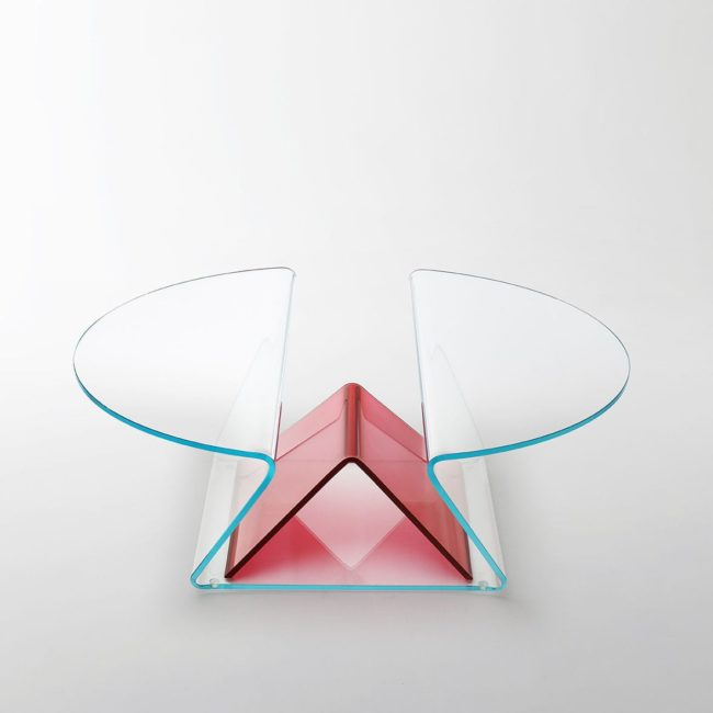Table basse Plisse, design Mario Bellini pour Glas Italia.
