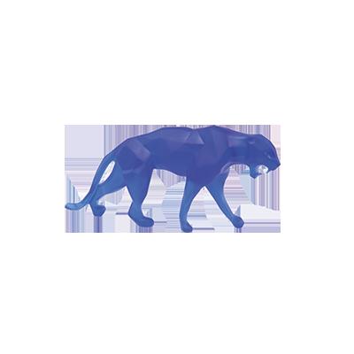Sculpture animale Wild Panther bleue petit modèle, design Richard Orlinski pour DAUM, pâte de cristal.