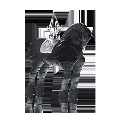 Sculpture Cheval porteur de feu noir, design Hilton McConnico pour DAUM, pâte de cristal