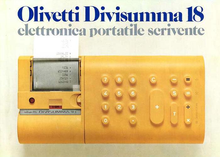 Publicité d'époque pour la calculatrice électronique Divisumma 18, design Mario Bellini pour Olivetti, 1972
