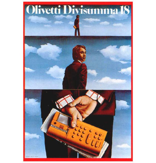 Publicité d'époque pour la calculatrice électronique Divisumma 18