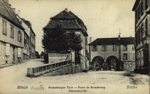 Carte postale de Bitche, Moselle, durant l'annexion allemande : 1871-1918
