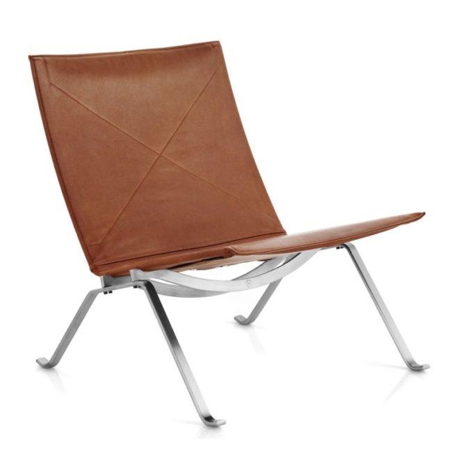 Fauteuil PK22 en cuir, structure en acier inoxydable brossé, design Poul Kjærholm pour Fritz Hansen, 1956