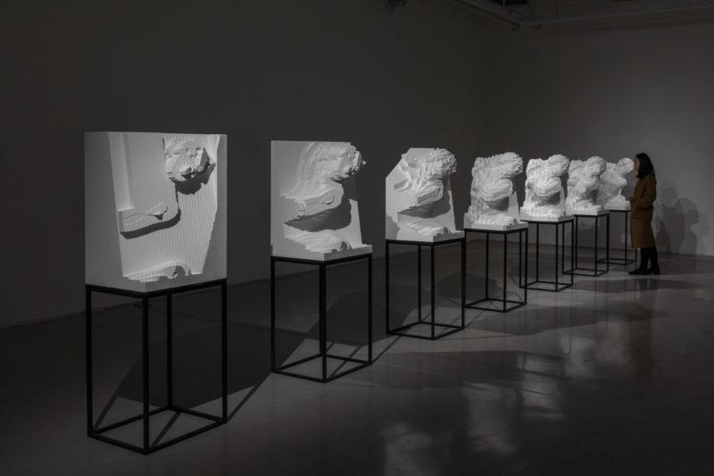 Solo show de Quayola - Vue de l'exposition Asymmetric Archaeology / Gazing Machines, travail Sculpture Factory