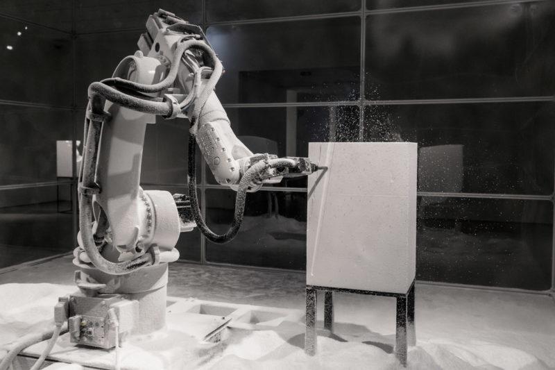 Quayola, Sculpture Factory : Pluton et Proserpine, statue inachevée. Photo issue du site web de l'artiste.