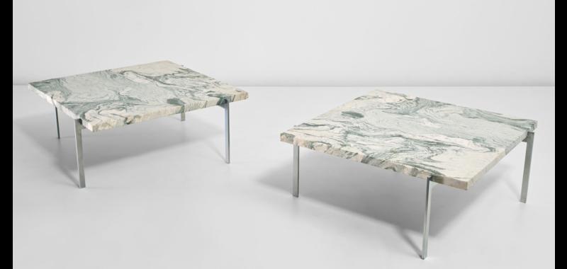 Paire de tables modèle PK61, design Poul Kjærholm, produit par Ejvind Kold Christensen à Copenhague.