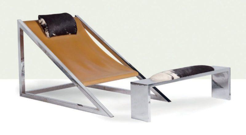 Fauteuil dit Mies et son ottoman.  Design ACHIZOOM Associati pour Poltronova, 1969