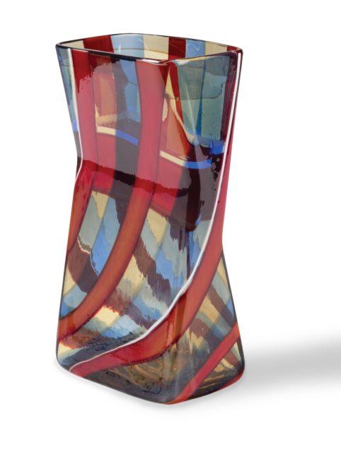 Vase rectangulaire très rare pour Venini, design Fulvio Bianconi, vers 1954.