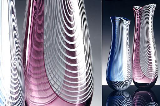 Vases en verre de Murano par le maître-verrier Giuliano Ballarin (1942).